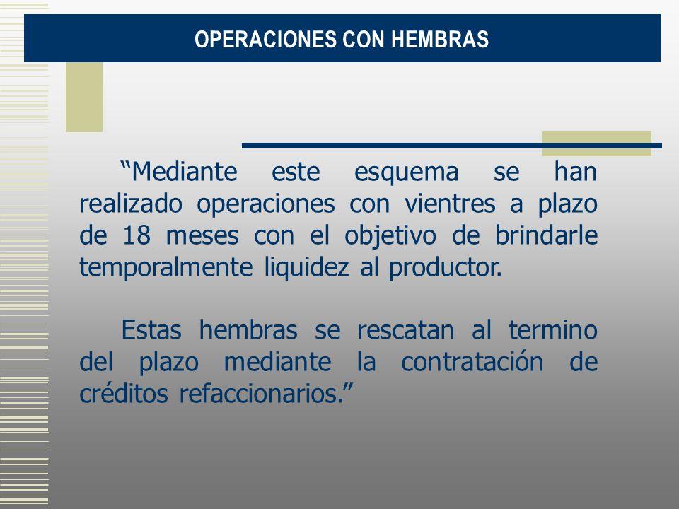 OPERACIONES CON HEMBRAS Mediante este esquema se han realizado operaciones con vientres a plazo de 18 meses con el objetivo de brindarle temporalmente