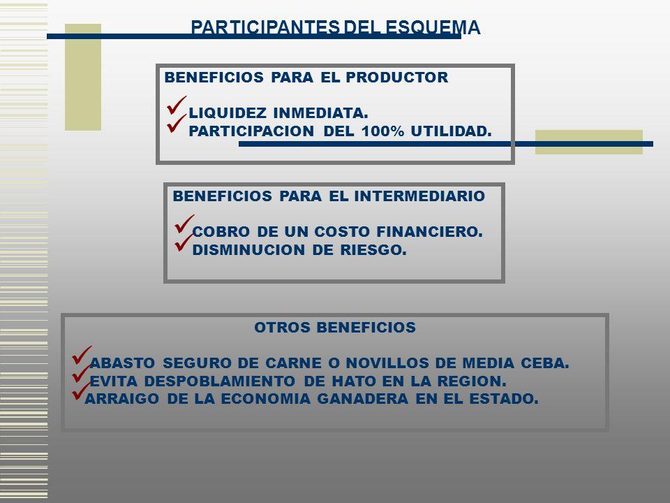 BENEFICIOS PARA EL PRODUCTOR LIQUIDEZ INMEDIATA. PARTICIPACION DEL 100% UTILIDAD. BENEFICIOS PARA EL INTERMEDIARIO COBRO DE UN COSTO FINANCIERO. DISMI
