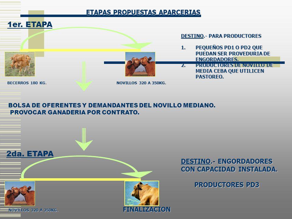 1er. ETAPA 2da. ETAPA BOLSA DE OFERENTES Y DEMANDANTES DEL NOVILLO MEDIANO. PROVOCAR GANADERIA POR CONTRATO. DESTINO.- PARA PRODUCTORES 1.PEQUEÑOS PD1