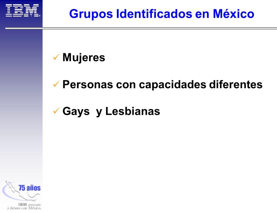 Grupos Identificados en México Mujeres Personas con capacidades diferentes Gays y Lesbianas