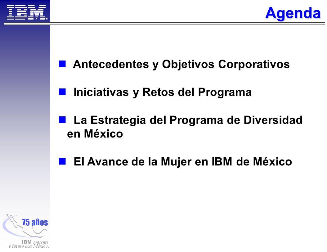% Mujeres en IBM Mexico % Mujeres en posiciones Gerenciales % Mujeres en Programas de Desarrollo Ejecutivo % Mujeres en Programas de Stock Options % Mujeres en posiciones Ejecutivas Metas para el Avance de la Mujer