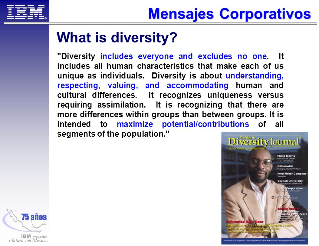 Mensajes Corporativos What is diversity. Diversity includes everyone and excludes no one.