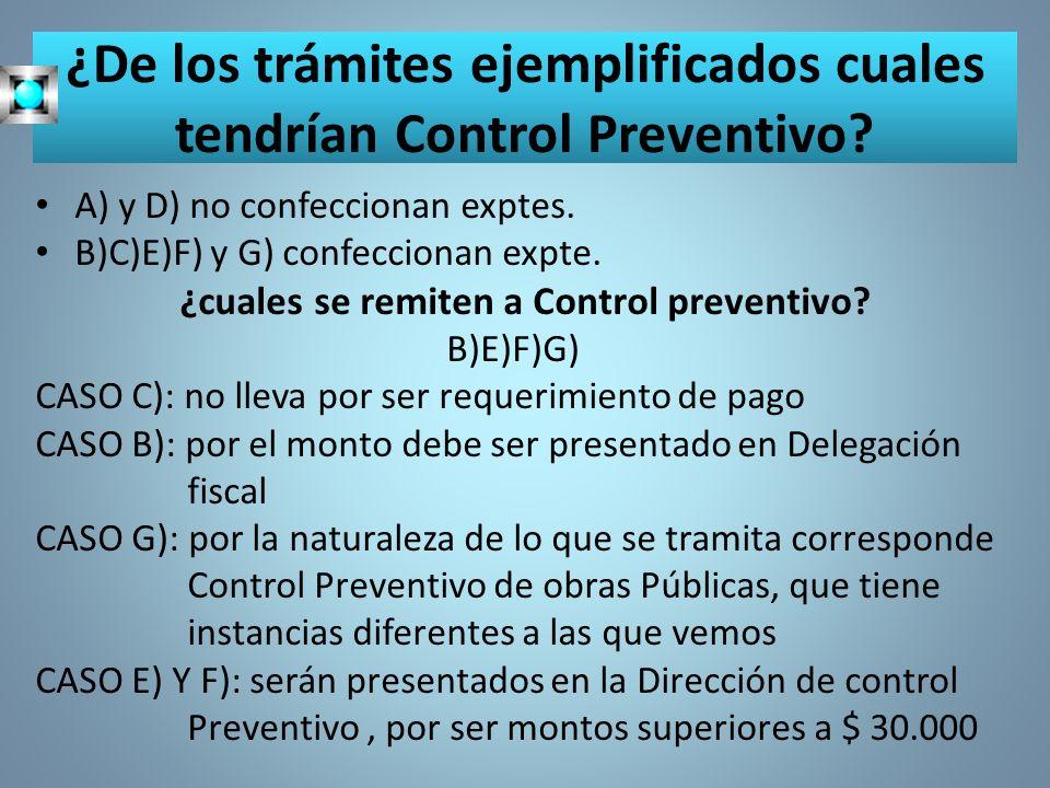 ¿De los trámites ejemplificados cuales tendrían Control Preventivo? A) y D) no confeccionan exptes. B)C)E)F) y G) confeccionan expte. ¿cuales se remit