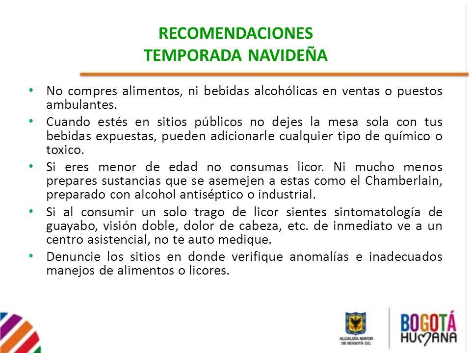 RECOMENDACIONES TEMPORADA NAVIDEÑA No compres alimentos, ni bebidas alcohólicas en ventas o puestos ambulantes. Cuando estés en sitios públicos no dej