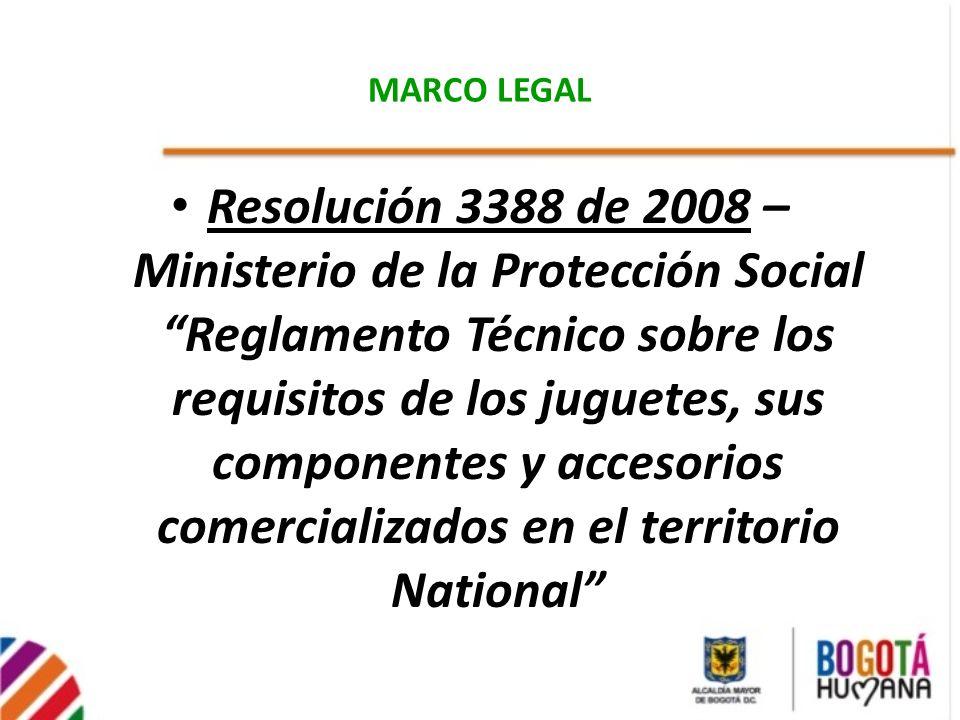 MARCO LEGAL Resolución 3388 de 2008 – Ministerio de la Protección Social Reglamento Técnico sobre los requisitos de los juguetes, sus componentes y ac