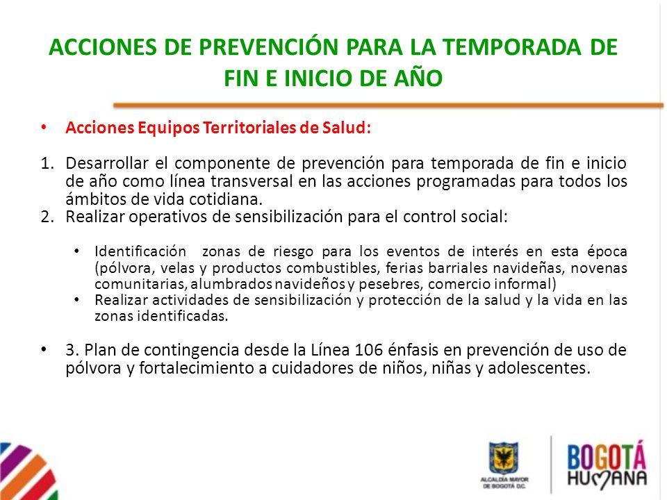 Acciones Equipos Territoriales de Salud: 1.Desarrollar el componente de prevención para temporada de fin e inicio de año como línea transversal en las