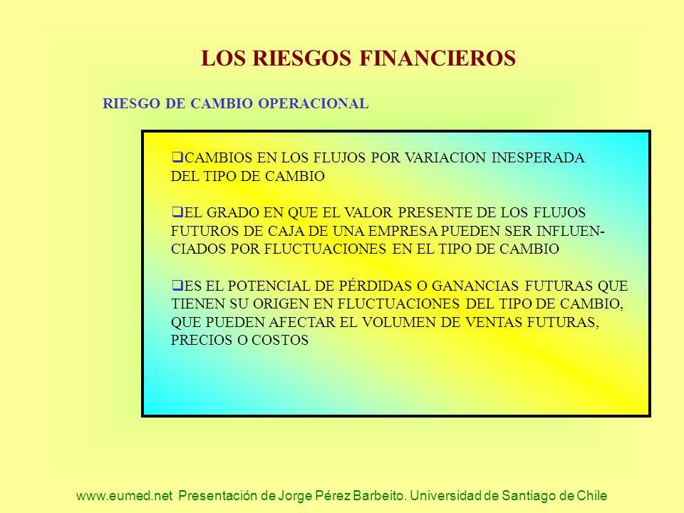 www.eumed.net Presentación de Jorge Pérez Barbeito. Universidad de Santiago de Chile LOS RIESGOS FINANCIEROS RIESGO DE CAMBIO OPERACIONAL CAMBIOS EN L