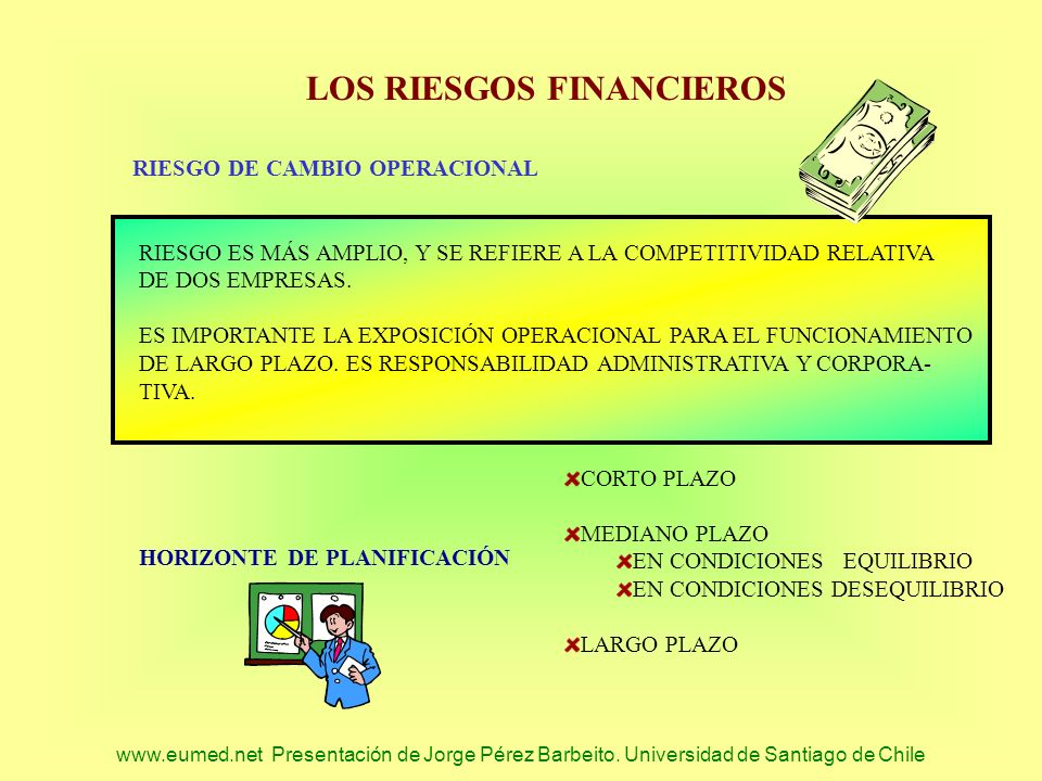 www.eumed.net Presentación de Jorge Pérez Barbeito. Universidad de Santiago de Chile LOS RIESGOS FINANCIEROS RIESGO DE CAMBIO OPERACIONAL RIESGO ES MÁ
