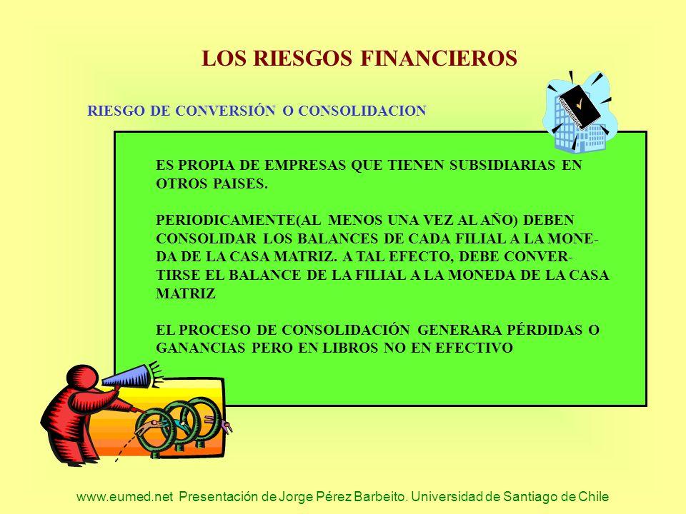 www.eumed.net Presentación de Jorge Pérez Barbeito. Universidad de Santiago de Chile LOS RIESGOS FINANCIEROS RIESGO DE CONVERSIÓN O CONSOLIDACION ES P