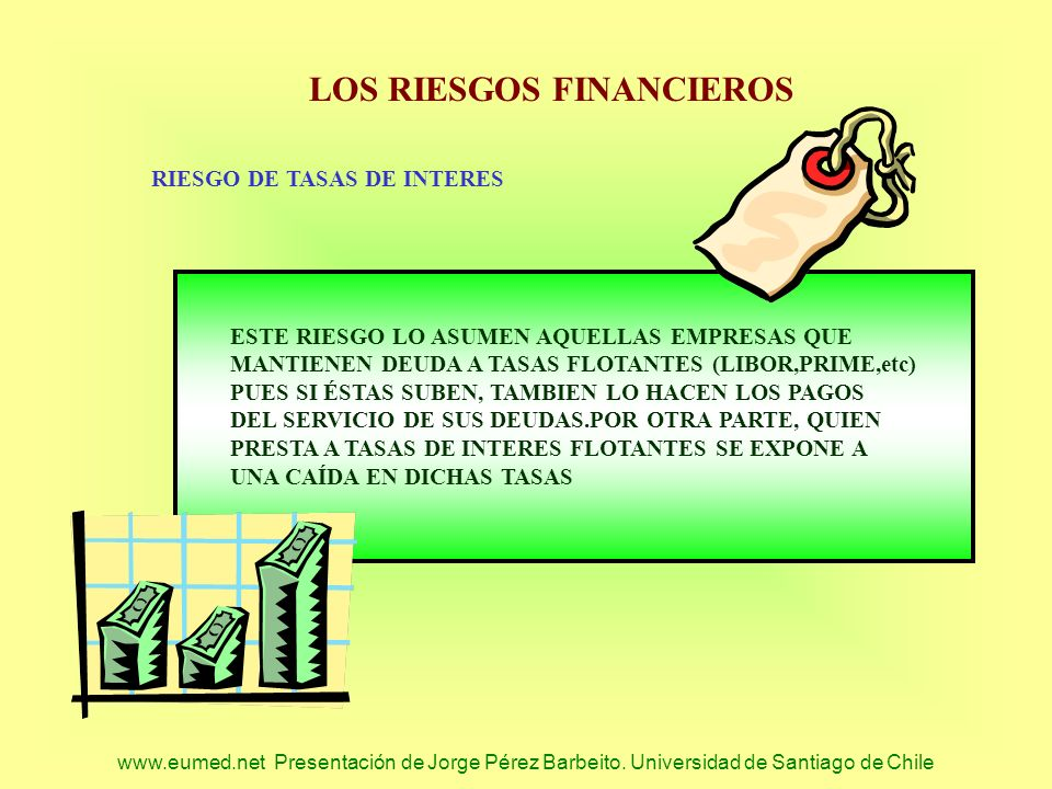 www.eumed.net Presentación de Jorge Pérez Barbeito. Universidad de Santiago de Chile LOS RIESGOS FINANCIEROS RIESGO DE TASAS DE INTERES ESTE RIESGO LO