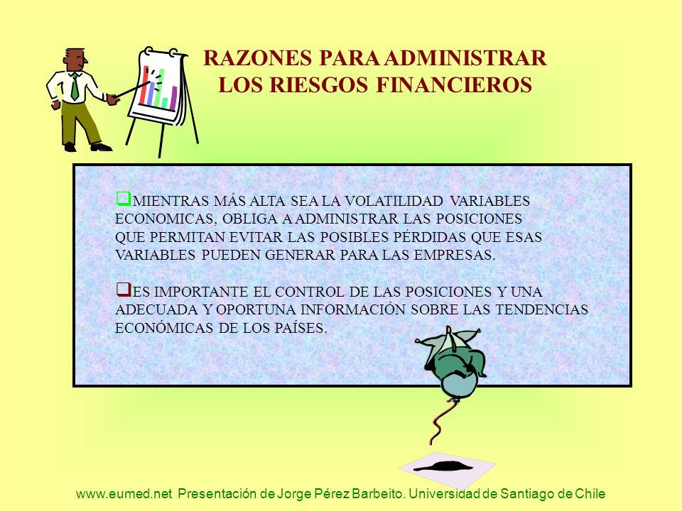 www.eumed.net Presentación de Jorge Pérez Barbeito. Universidad de Santiago de Chile RAZONES PARA ADMINISTRAR LOS RIESGOS FINANCIEROS MIENTRAS MÁS ALT