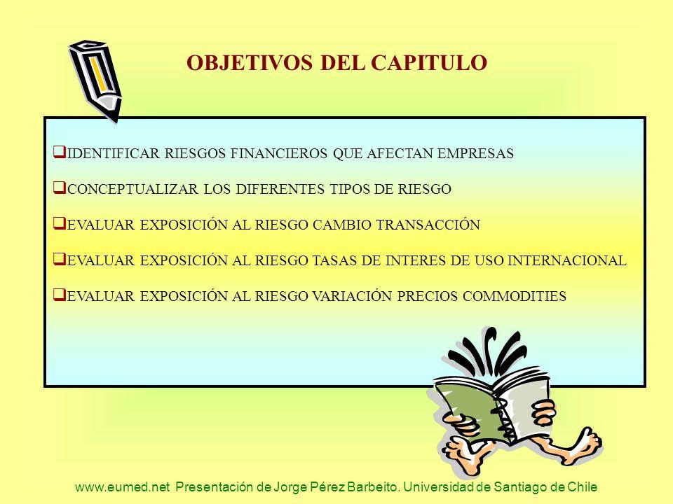 www.eumed.net Presentación de Jorge Pérez Barbeito. Universidad de Santiago de Chile OBJETIVOS DEL CAPITULO IDENTIFICAR RIESGOS FINANCIEROS QUE AFECTA