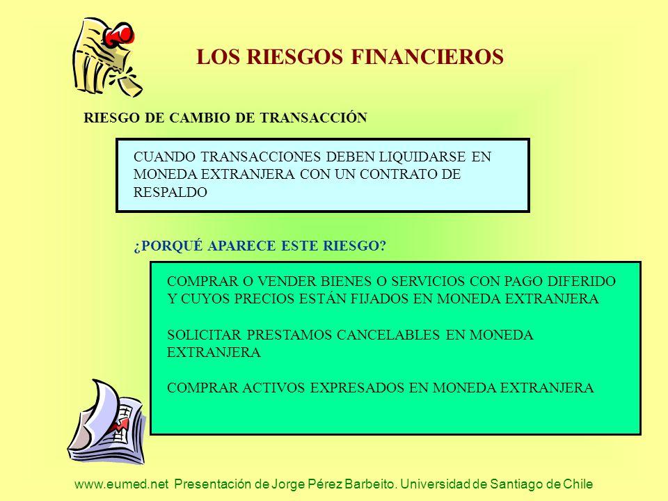 www.eumed.net Presentación de Jorge Pérez Barbeito. Universidad de Santiago de Chile LOS RIESGOS FINANCIEROS RIESGO DE CAMBIO DE TRANSACCIÓN CUANDO TR