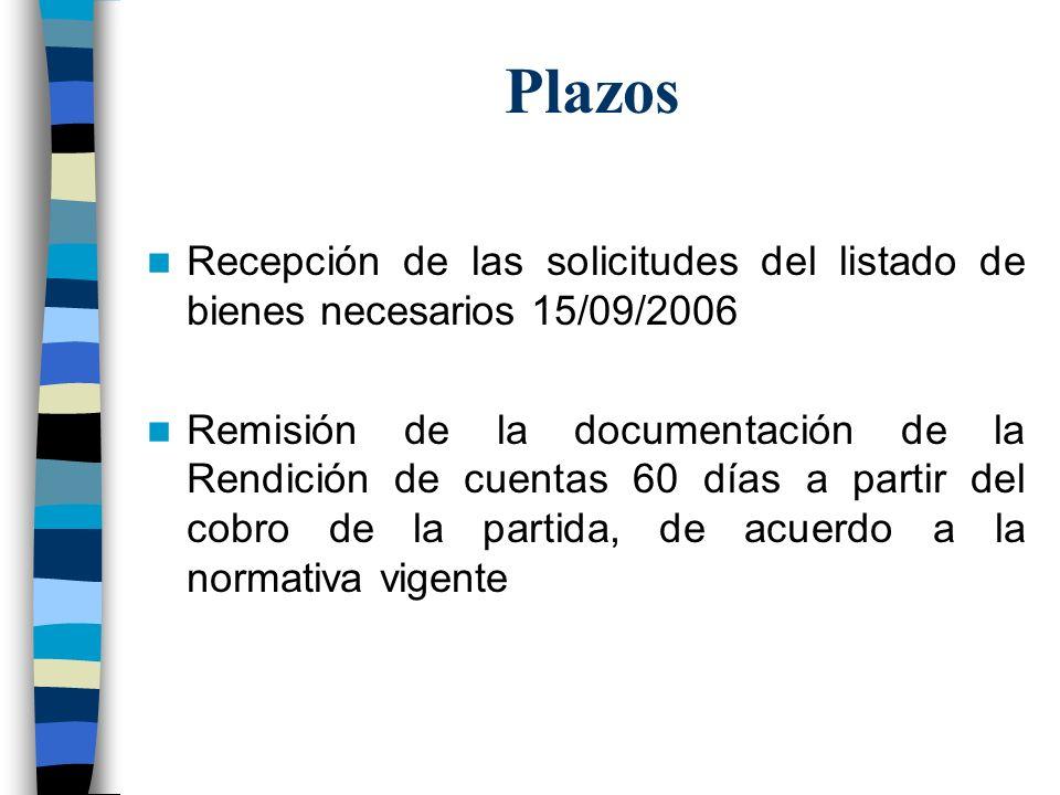 Plazos Recepción de las solicitudes del listado de bienes necesarios 15/09/2006 Remisión de la documentación de la Rendición de cuentas 60 días a part