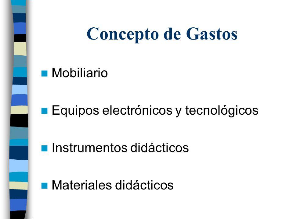 Concepto de Gastos Mobiliario Equipos electrónicos y tecnológicos Instrumentos didácticos Materiales didácticos