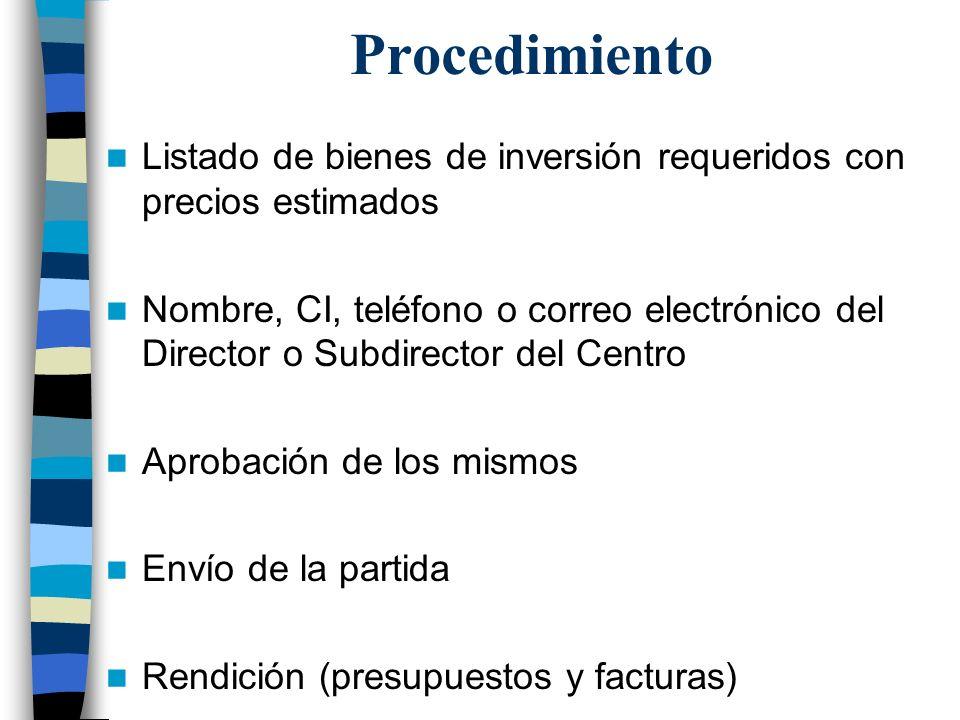 Procedimiento Listado de bienes de inversión requeridos con precios estimados Nombre, CI, teléfono o correo electrónico del Director o Subdirector del