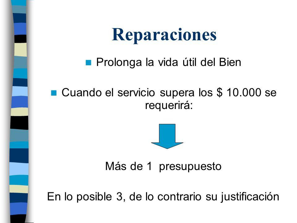 Reparaciones Prolonga la vida útil del Bien Cuando el servicio supera los $ 10.000 se requerirá: Más de 1 presupuesto En lo posible 3, de lo contrario