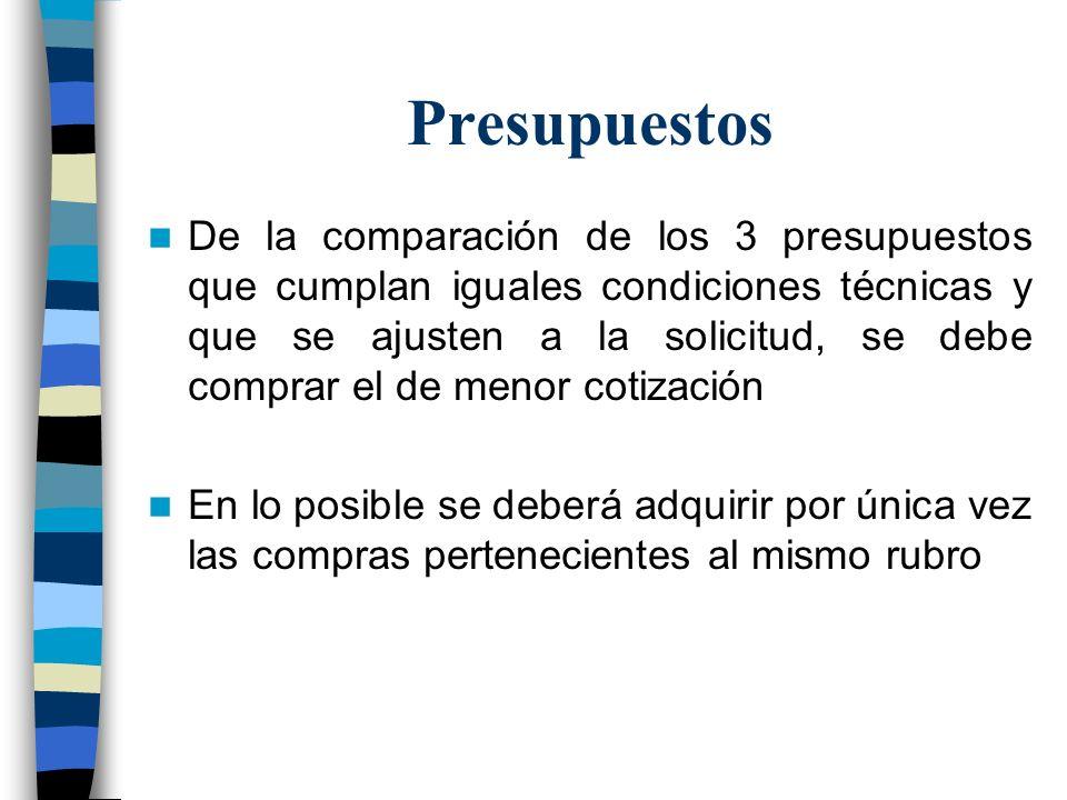 Presupuestos De la comparación de los 3 presupuestos que cumplan iguales condiciones técnicas y que se ajusten a la solicitud, se debe comprar el de m