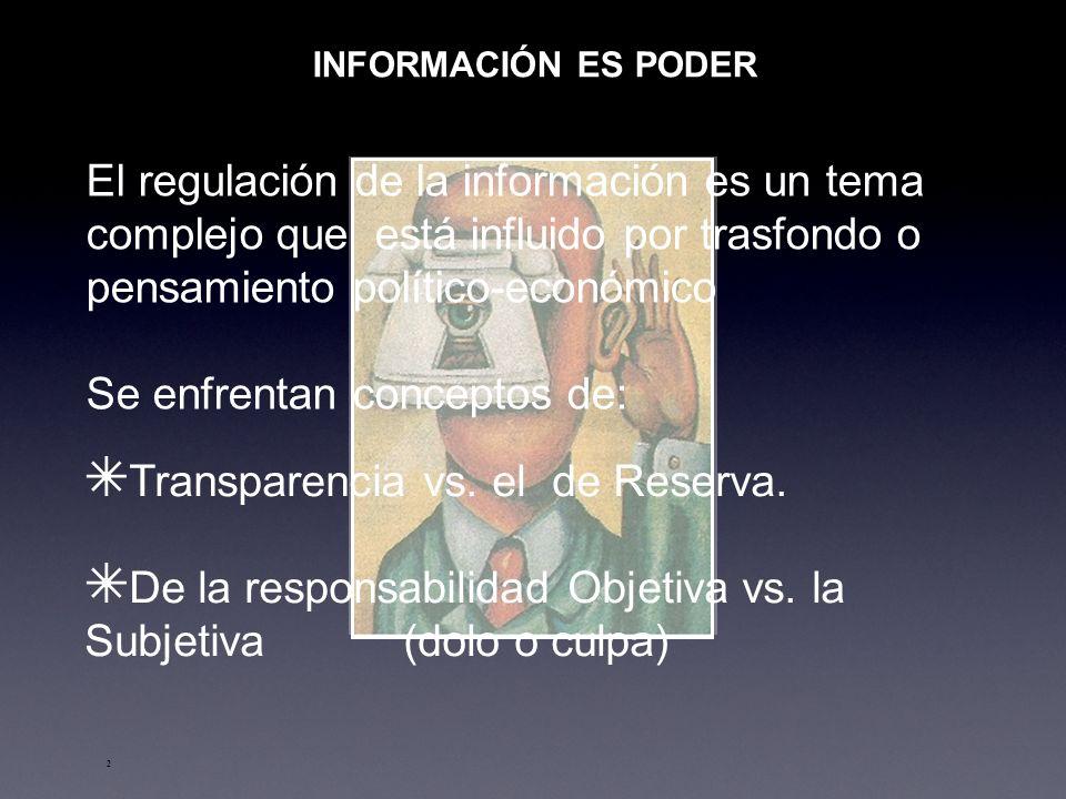2 INFORMACIÓN ES PODER El regulación de la información es un tema complejo que está influido por trasfondo o pensamiento político-económico Se enfrentan conceptos de: Transparencia vs.