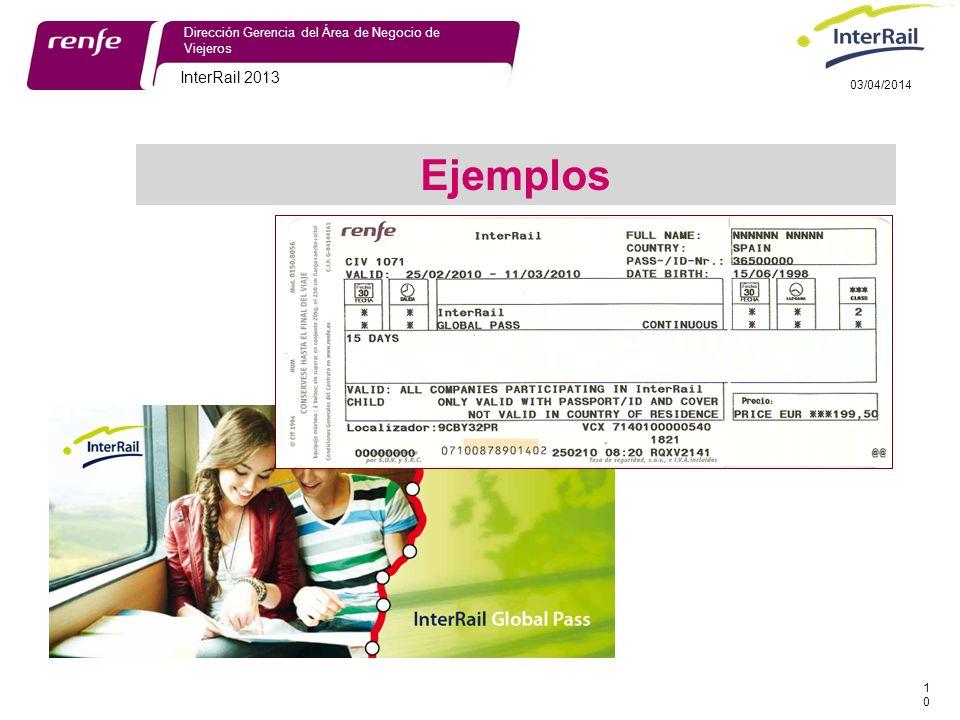 InterRail 2013 10 Dirección Gerencia del Área de Negocio de Viejeros 03/04/2014 Ejemplos