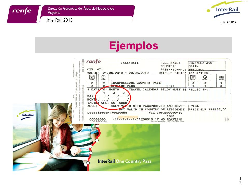 InterRail 2013 12 Dirección Gerencia del Área de Negocio de Viejeros 03/04/2014 Ejemplos