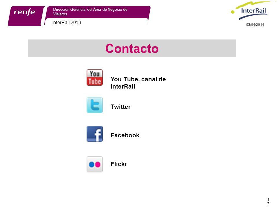 InterRail 2013 17 Dirección Gerencia del Área de Negocio de Viejeros 03/04/2014 Contacto You Tube, canal de InterRail Twitter Facebook Flickr
