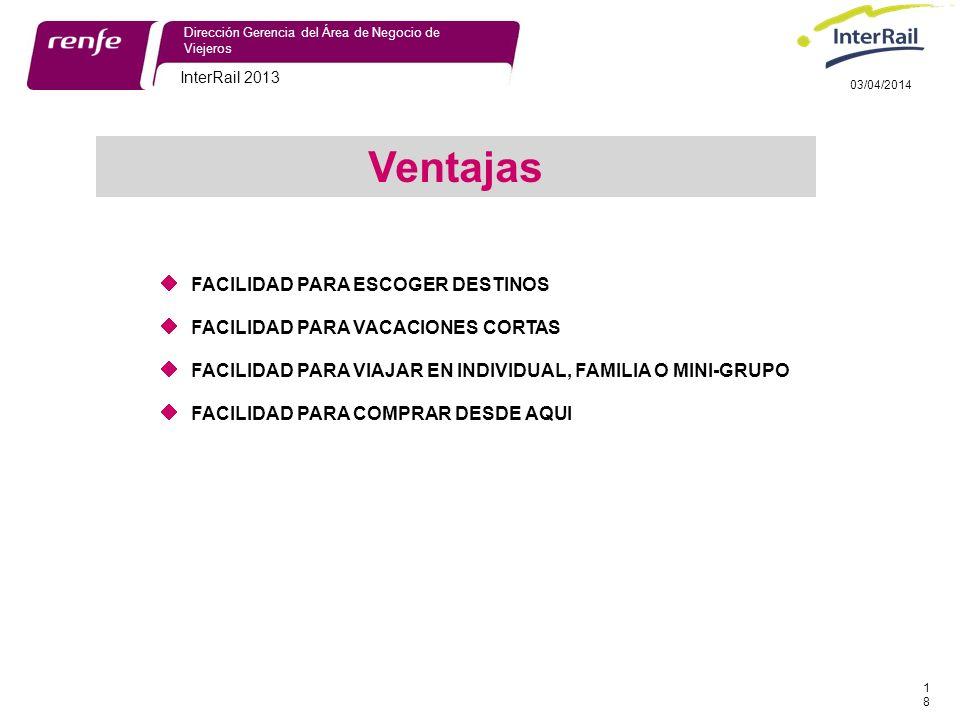 InterRail 2013 18 Dirección Gerencia del Área de Negocio de Viejeros 03/04/2014 FACILIDAD PARA ESCOGER DESTINOS FACILIDAD PARA VACACIONES CORTAS FACILIDAD PARA VIAJAR EN INDIVIDUAL, FAMILIA O MINI-GRUPO FACILIDAD PARA COMPRAR DESDE AQUI Ventajas