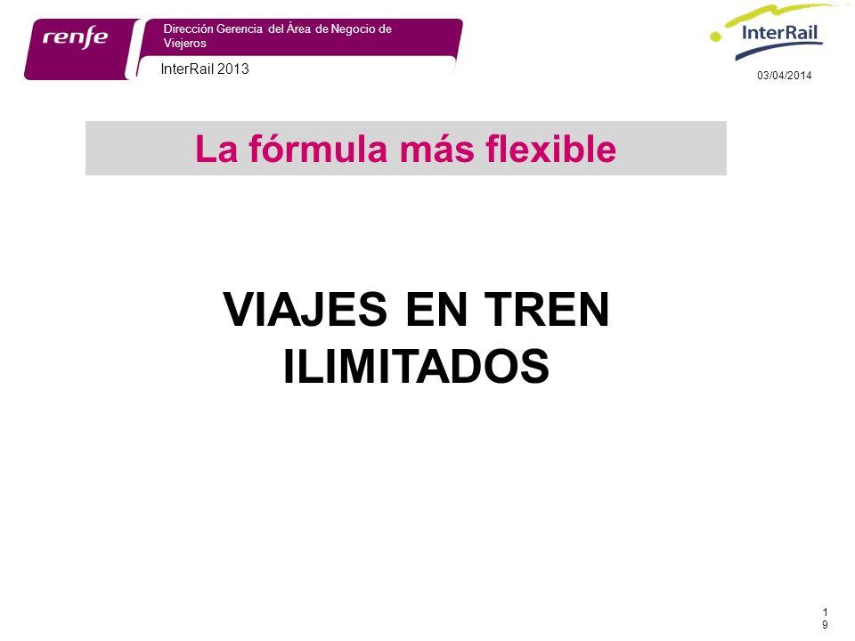 InterRail 2013 19 Dirección Gerencia del Área de Negocio de Viejeros 03/04/2014 VIAJES EN TREN ILIMITADOS La fórmula más flexible