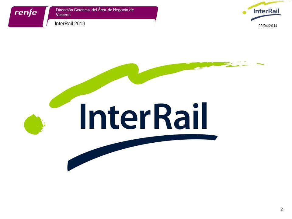 InterRail 2013 2 Dirección Gerencia del Área de Negocio de Viejeros 03/04/2014