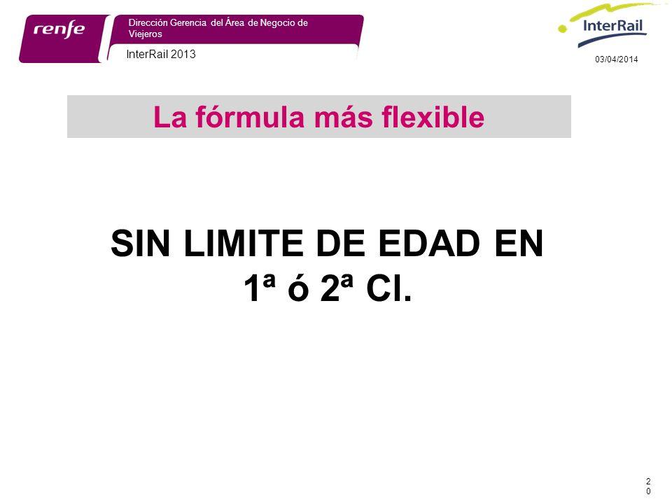 InterRail 2013 20 Dirección Gerencia del Área de Negocio de Viejeros 03/04/2014 SIN LIMITE DE EDAD EN 1ª ó 2ª Cl.