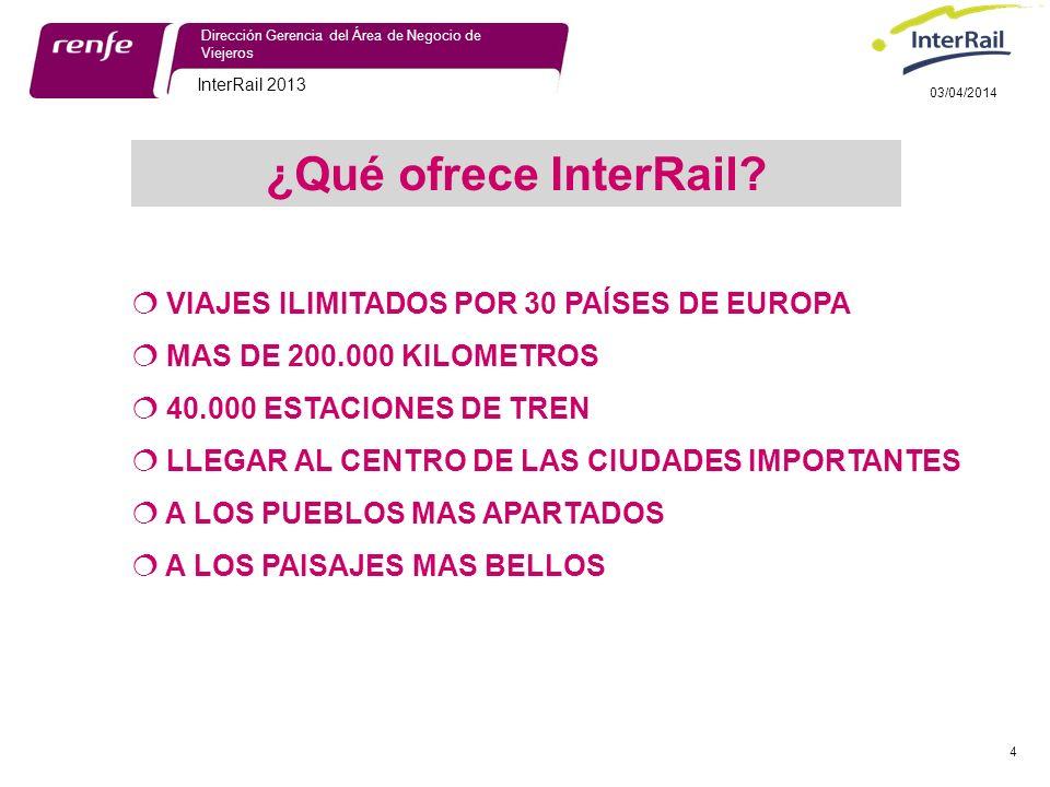 InterRail 2013 4 Dirección Gerencia del Área de Negocio de Viejeros 03/04/2014 ¿Qué ofrece InterRail.