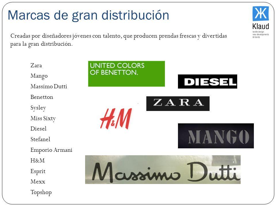 Marcas de gran distribución Zara Mango Massimo Dutti Benetton Sysley Miss Sixty Diesel Stefanel Emporio Armani H&M Esprit Mexx Topshop Creadas por dis
