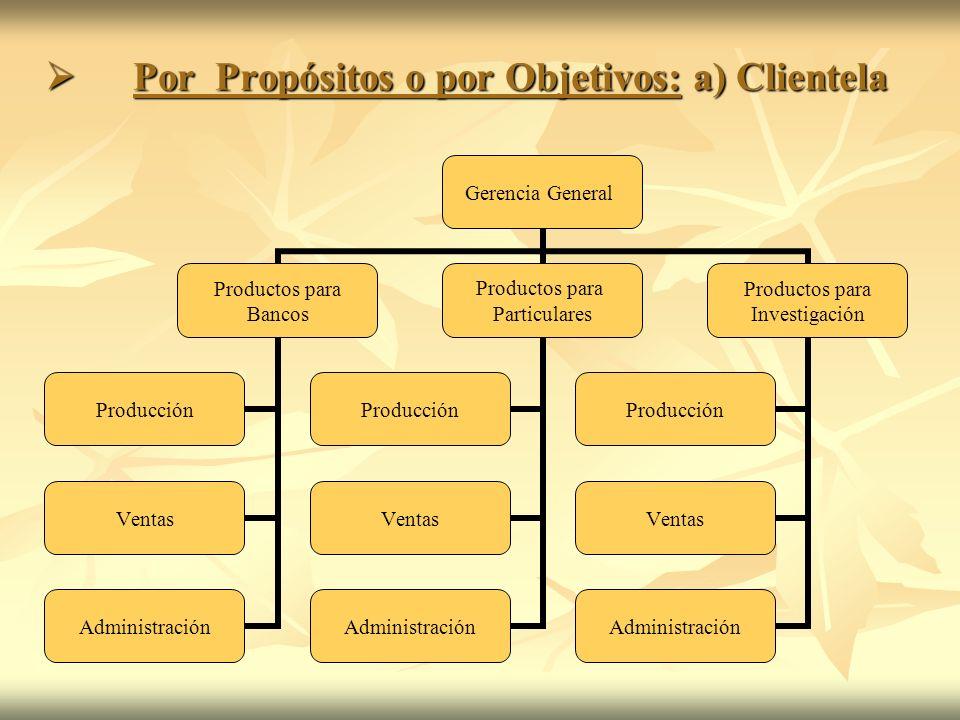 Por Propósitos o por Objetivos: a) Clientela Por Propósitos o por Objetivos: a) Clientela Gerencia General Productos para Bancos Producción Ventas Adm