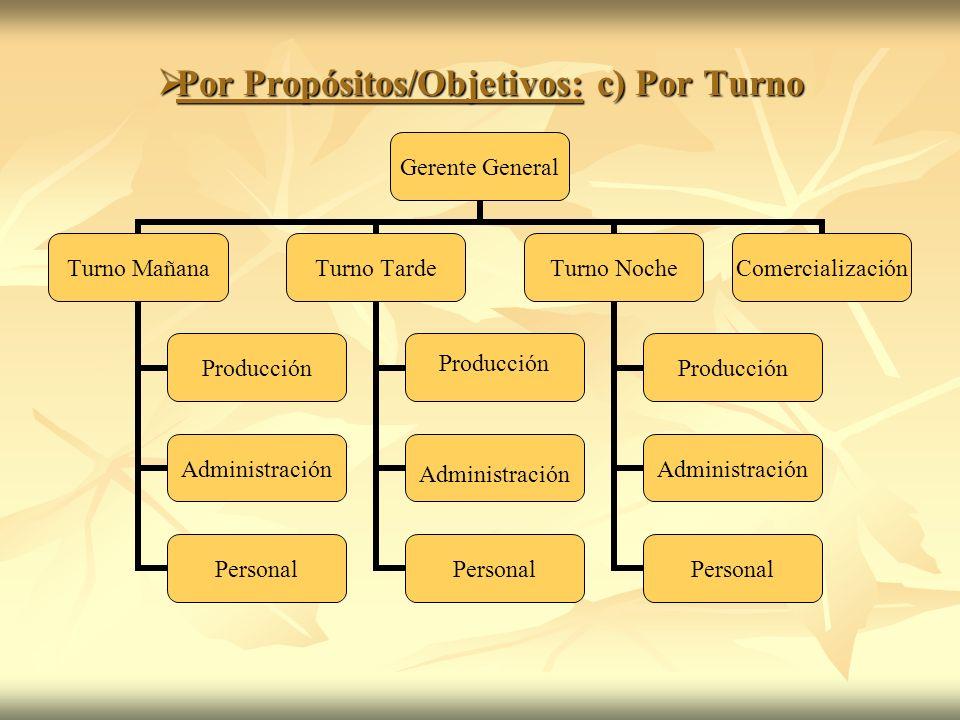Por Propósitos/Objetivos: c) Por Turno Por Propósitos/Objetivos: c) Por Turno Gerente General Turno Mañana Producción Administración Personal Turno Ta