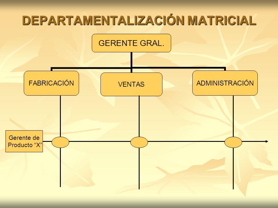 DEPARTAMENTALIZACIÓN MATRICIAL GERENTE GRAL. FABRICACIÓNVENTASADMINISTRACIÓN Gerente de Producto X