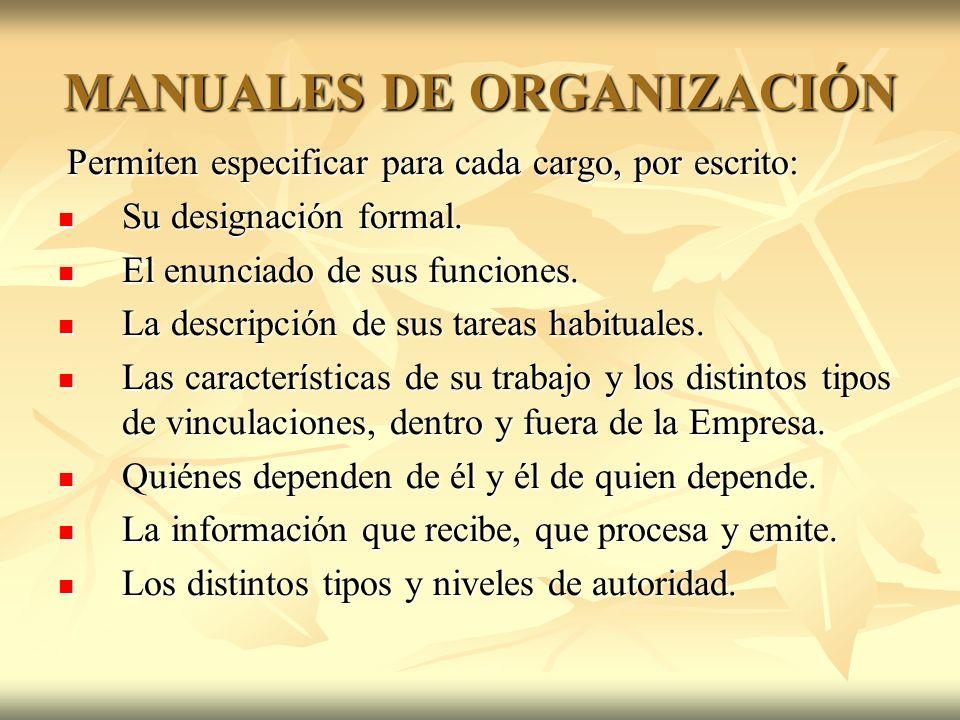 MANUALES DE ORGANIZACIÓN Permiten especificar para cada cargo, por escrito: Permiten especificar para cada cargo, por escrito: Su designación formal.
