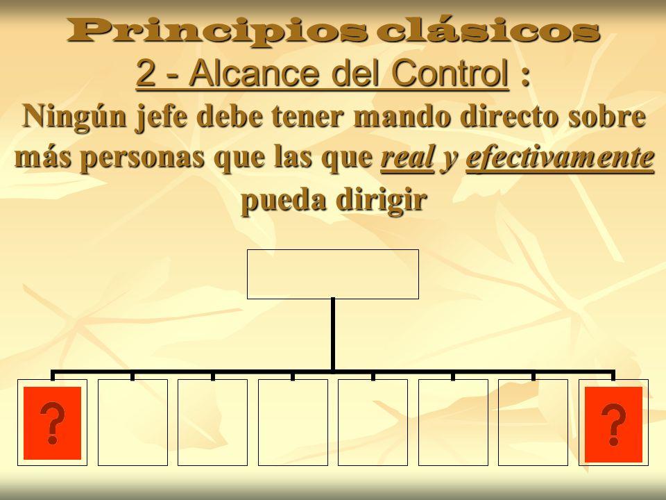 Principios clásicos 3 – Homogeneidad Operativa: cada jefe y departamento ejecutará tareas que corresponden a su especialidad y sean homogéneas Gerencia Administración TesoreríaContabilidad Control de Calidad