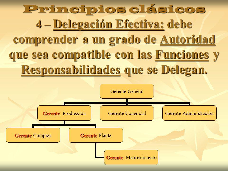 Principios clásicos 4 – Delegación Efectiva: debe comprender a un grado de Autoridad que sea compatible con las Funciones y Responsabilidades que se D