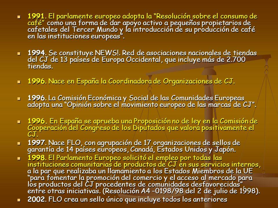 1991. El parlamente europeo adopta la Resolución sobre el consumo de café como una forma de dar apoyo activo a pequeños propietarios de cafetales del