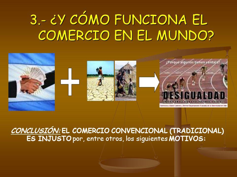 CONCLUSIÓN: EL COMERCIO CONVENCIONAL (TRADICIONAL) ES INJUSTO por, entre otros, los siguientes MOTIVOS: 3.- ¿Y CÓMO FUNCIONA EL COMERCIO EN EL MUNDO?