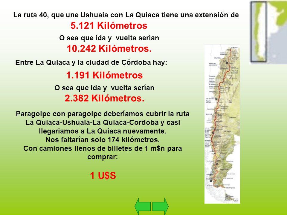 La ruta 40, que une Ushuaia con La Quiaca tiene una extensión de 5.121 Kilómetros O sea que ida y vuelta serían 10.242 Kilómetros.