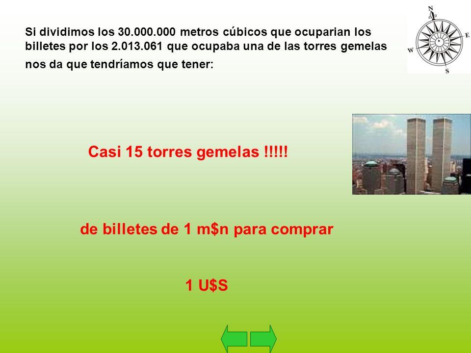 Si dividimos los 30.000.000 metros cúbicos que ocuparian los billetes por los 2.013.061 que ocupaba una de las torres gemelas nos da que tendríamos que tener: Casi 15 torres gemelas !!!!.