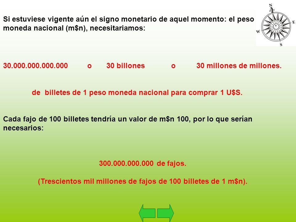 Si estuviese vigente aún el signo monetario de aquel momento: el peso moneda nacional (m$n), necesitariamos: 30.000.000.000.000 o 30 billones o 30 millones de millones.