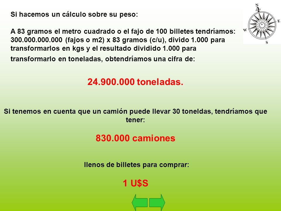Para hacer una comparación: La cosecha de soja del año 2004 fue de 39.000.000 de toneladas por lo que, el 64 % del peso de la cosecha de soja del tercer productor mundial, serían necesarios en billetes, para comprar 1 U$S.