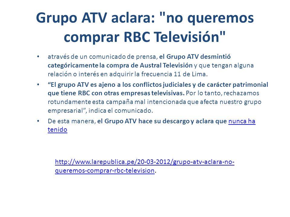 Grupo ATV aclara: