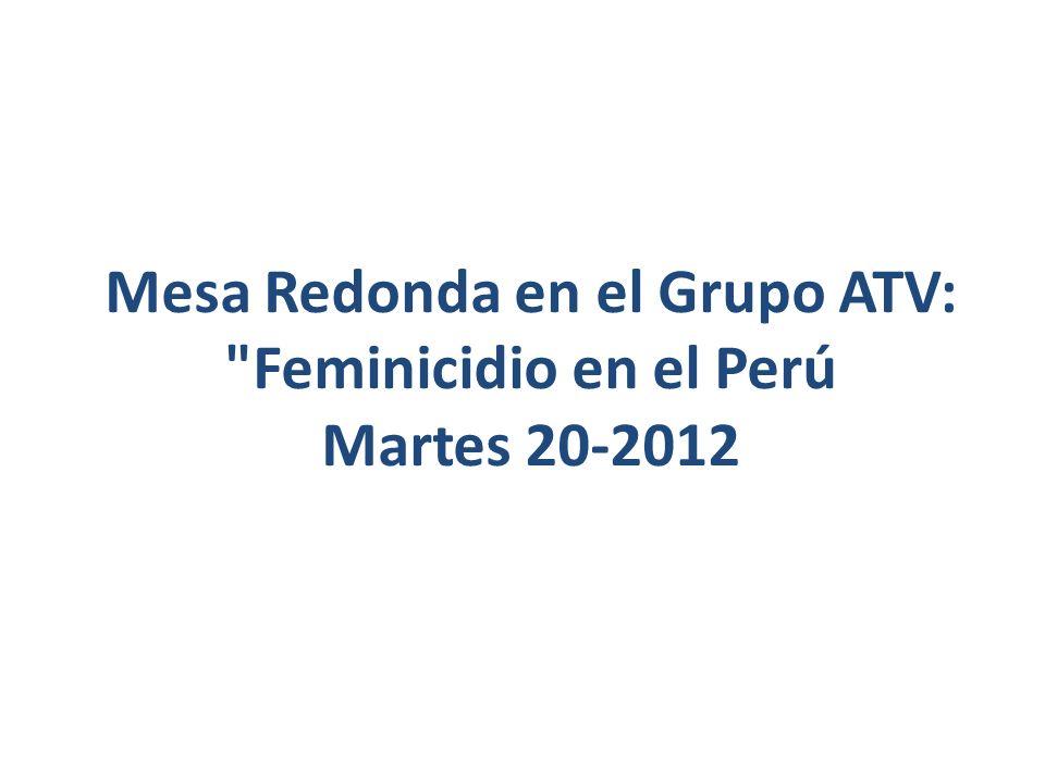 Mesa Redonda en el Grupo ATV: Feminicidio en el Perú Martes 20-2012
