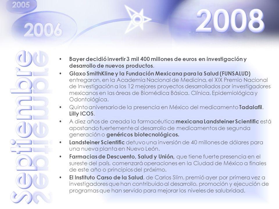 Bayer decidió invertir 3 mil 400 millones de euros en investigación y desarrollo de nuevos productos. Glaxo SmithKline y la Fundación Mexicana para la