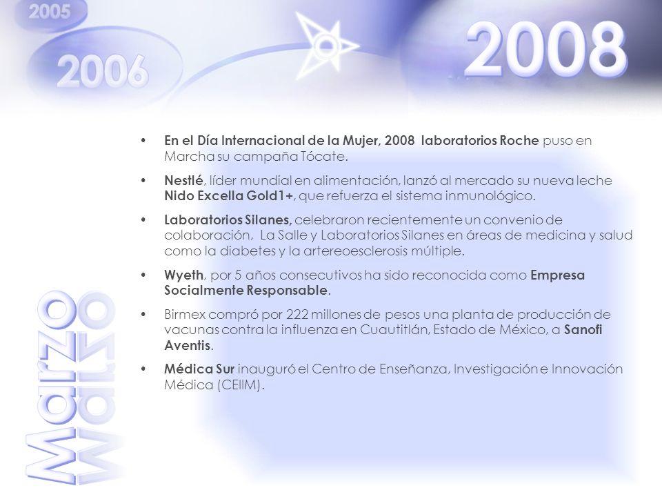 En el Día Internacional de la Mujer, 2008 laboratorios Roche puso en Marcha su campaña Tócate. Nestlé, líder mundial en alimentación, lanzó al mercado