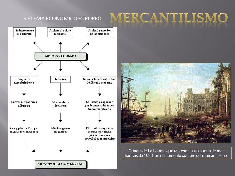 SISTEMA ECONÓMICO EUROPEO Cuadro de Le Lorrain que representa un puerto de mar francés de 1638, en el momento cumbre del mercantilismo.