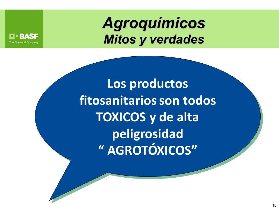 10 Agroquímicos Mitos y verdades Los productos fitosanitarios son todos TOXICOS y de alta peligrosidad AGROTÓXICOS Los productos fitosanitarios son to